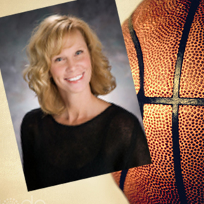 Suzy Merchant with basketball background