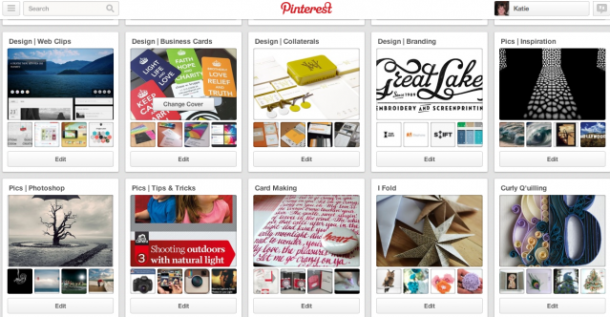 Pinterest boards grouped by theme for public view