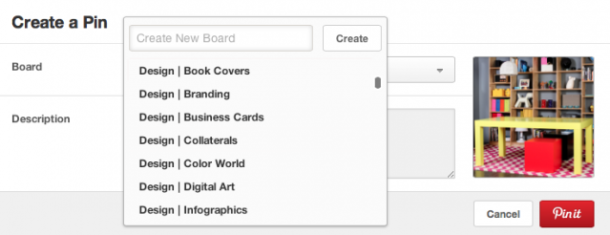 Pinterest design board names are grouped with the word Design at the front.