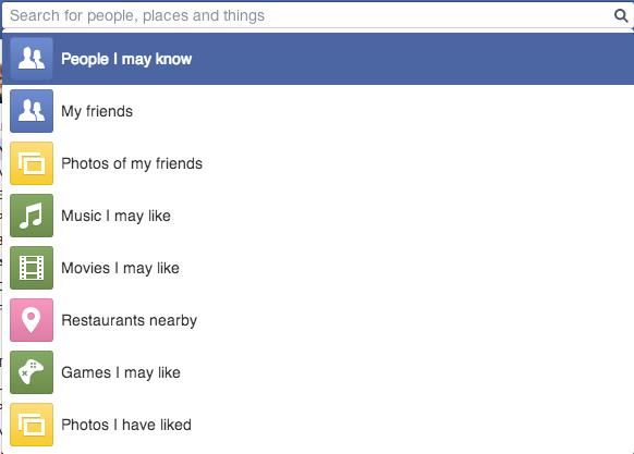 Facebook Social Graph Search Menu