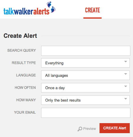 TalkWalker Alerts Create Tab