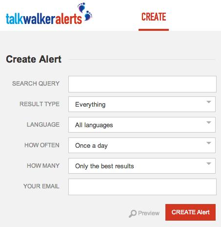 TalkWalker Alerts Create Tab