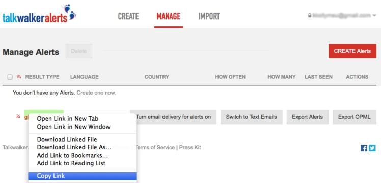Screenshot: Copy RSS Feed on TalkWalker Alerts