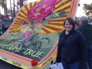 Katie with Rose Parade float