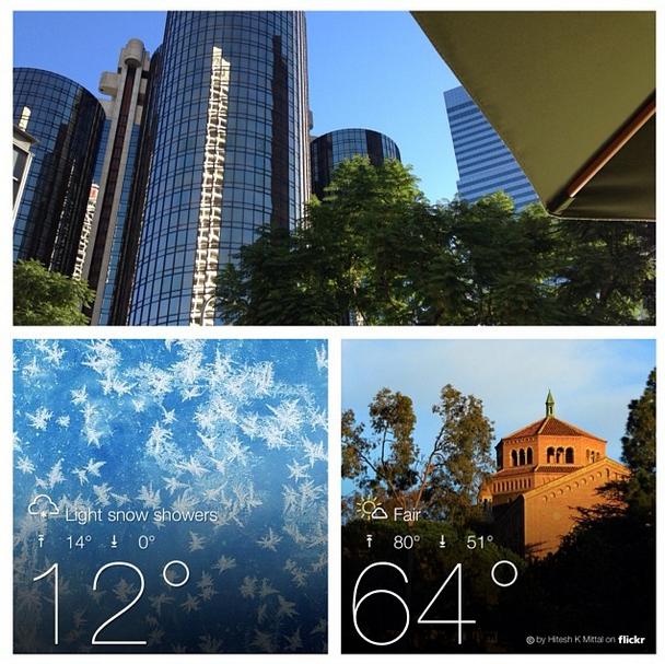 A collage showing palm trees and phone screenshots of weather forecasts. It reads 12 degrees in East Lansing and 64 degrees in Pasadena.